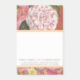 Notas Post-it® Floristería de la camelia o vintage rosada del