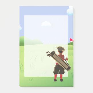 Notas Post-it® Golfista del dibujo animado de la diversión en