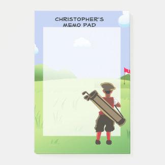Notas Post-it® Golfista personalizado diversión en campo de golf