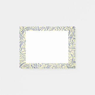 Notas Post-it® Gráfico floral de Scrollwork del vintage amarillo