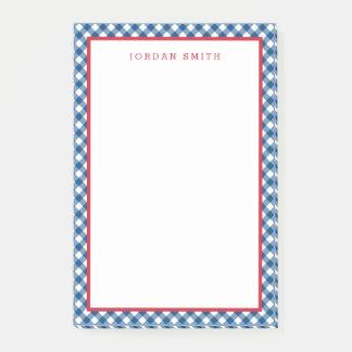 Notas Post-it® Guinga azul con la frontera roja