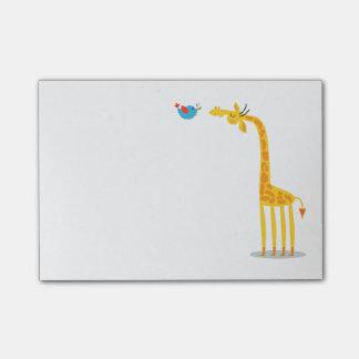 Notas Post-it® Jirafa y pájaro lindos del dibujo animado