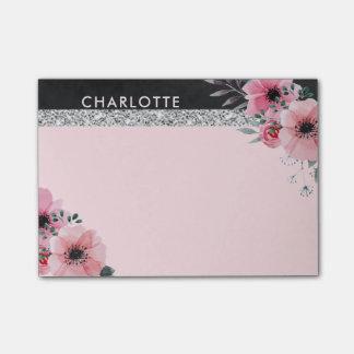 Notas Post-it® La acuarela elegante femenina florece rosa del