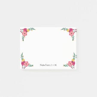 Notas Post-it® La flor floral del estilo del vintage fija el boda