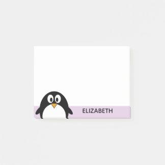 Notas Post-it® lavanda linda y negro del pingüino del dibujo