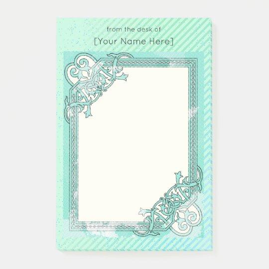 Notas Post-it® Lunar floral del collage de la verde menta + Línea