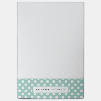 Notas Post-it® Lunares blancos en trullo con nombre