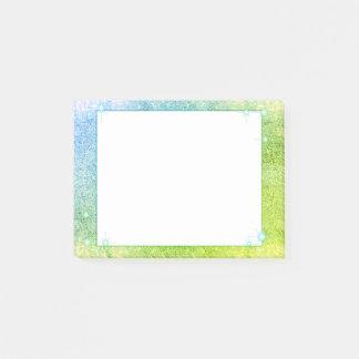 Notas Post-it® Mar de la chispa del brillo del verde azul de la