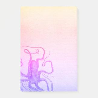 Notas Post-it® Mar púrpura rosado de Ombre Steampunk del pulpo
