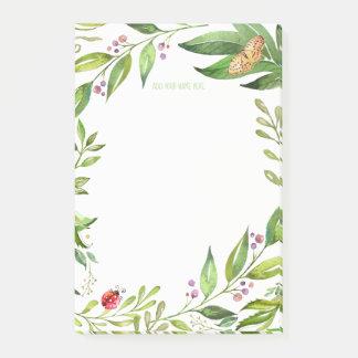 Notas Post-it® Mariquita y mariposa del follaje el | del jardín