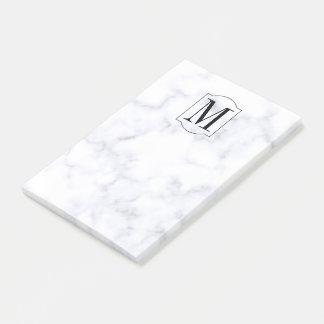 Notas Post-it® Mármol personalizado elegante del monograma