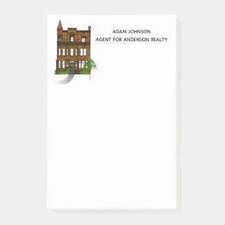 Notas Post-it® Mensajes del agente inmobiliario con una arenisca