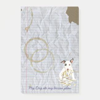 Notas Post-it® Mi bull terrier miniatura comió mi plan de lección