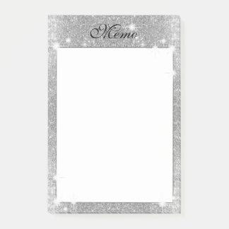 Notas Post-it® Mirada metálica del brillo del metal de plata de