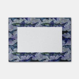 Notas Post-it® Modelo del tiburón en púrpura y azul