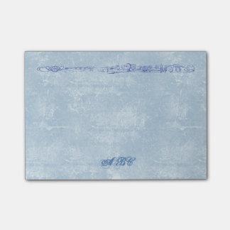 Notas Post-it® Monograma azul del personalizado del dibujo lineal