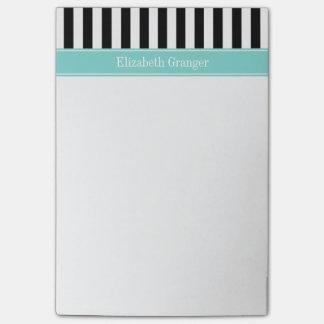 Notas Post-it® Monograma blanco negro del nombre de la cinta de