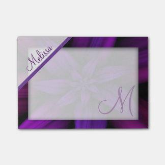 Notas Post-it® Monograma floral de la pasión púrpura