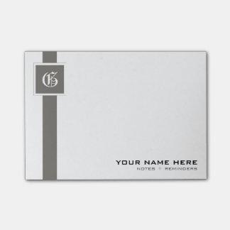 Notas Post-it® Monograma gris y blanco profesional de la raya