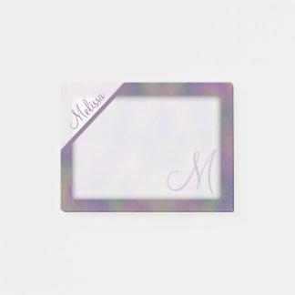 Notas Post-it® Monograma magenta púrpura del nombre del oro verde