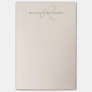 Notas Post-it® Monograma minimalista elegante rosado del susurro
