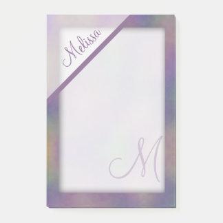 Notas Post-it® Monograma púrpura magenta del nombre del oro verde