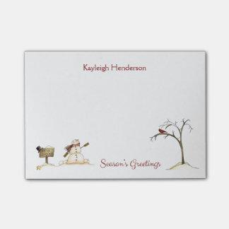 Notas Post-it® Monograma rojo del invierno del árbol del pájaro