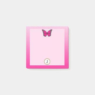 Notas Post-it® Monograma rosado de la mariposa de los puntos de