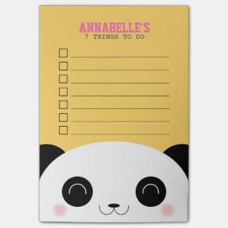 Notas Post-it® Niños lindos de la cara de la panda de Kawaii para