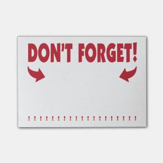 Notas Post-it® No olvide la atención que consigue recordatorio
