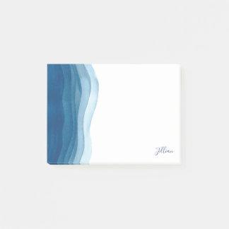 Notas Post-it® Ondas azules hermosas de la acuarela