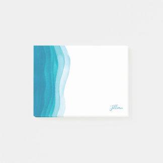 Notas Post-it® Ondas verde azuladas hermosas de la acuarela