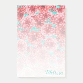Notas Post-it® Pendiente coralina del estampado de flores