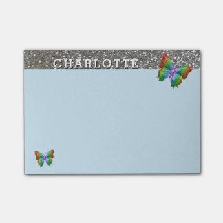 Notas Post-it® Plata azul personalizada de la mariposa del arco