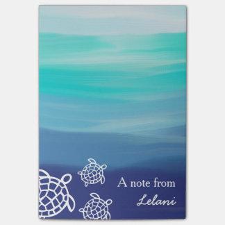 Notas Post-it® Playa personalizada del océano de las tortugas de