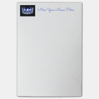 Notas Post-it® Poste-él-Notas azules de la corona de la Srta. los
