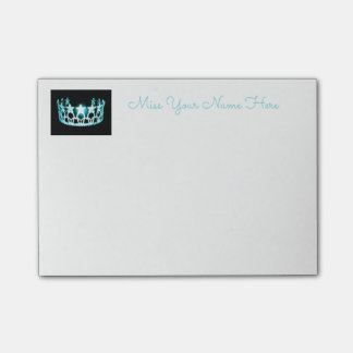 Notas Post-it® Poste-él-Notas de la corona de la aguamarina de la
