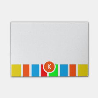 Notas Post-it® Rayas coloridas del monograma