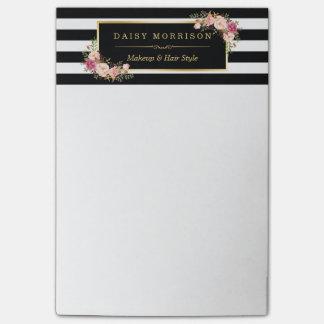 Notas Post-it® Rayas florales del blanco del negro del salón de