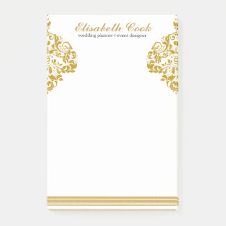Notas Post-it® Remolinos y rayas del brillo del oro