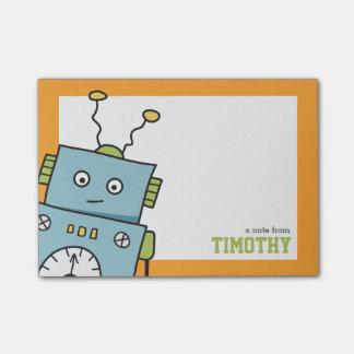 Notas Post-it® Robot azul lindo con nombre personalizado