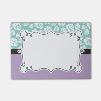 Notas Post-it® Rosas blancos en la aguamarina y la púrpura