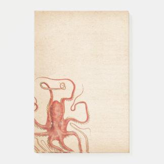Notas Post-it® Sepia envejecida pulpo rojo Steampunk del mar