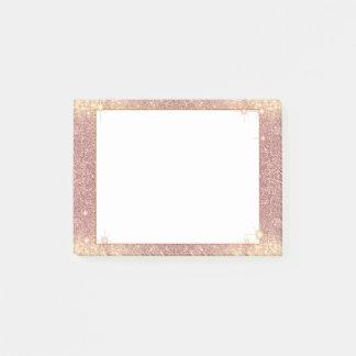 Notas Post-it® Textura atractiva de la chispa del brillo del rosa