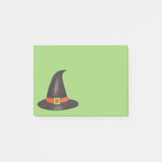 Notas Post-it® Tripleta de la bruja de Halloween o negro verde de