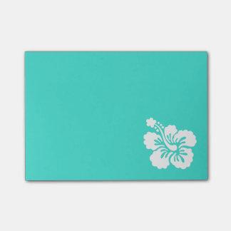 Notas Post-it® Turquesa e hibisco blanco