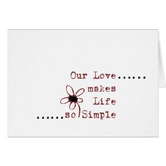 Notas simples del amor tarjeta de felicitación