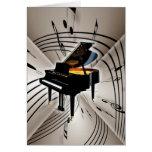 Notas y personal del piano tarjetas