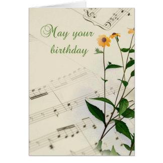 Notas y Wildflowers de la música del cumpleaños Tarjeta De Felicitación