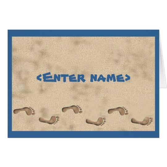 Notecard del monograma de la playa tarjeta pequeña